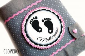 Mutterpasshülle Babyfüßchen Mutterpass Hülle Füße Baby Mutterkindpass - Handarbeit kaufen