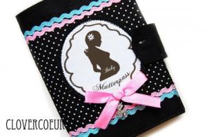 Mutterpasshülle Baby Familie Mutterpass Hülle mint Mama Mukipass Handarbeit schwarz  - Handarbeit kaufen