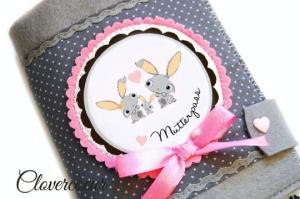 Mutterpasshülle Herz Mutterpass Hülle Hase Baby Mutterkindpass rosa - Handarbeit kaufen