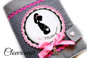 Mutterpasshülle Familie   Mutterpass Hülle  Baby Mutterkindpass Mama Silhouette rosa - Handarbeit kaufen