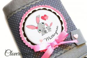 Mutterpasshülle Familie   Mutterpass Hülle  Baby Mutterkindpass Hase - Handarbeit kaufen