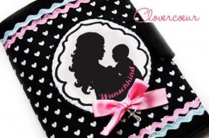 Mutterpasshülle Herz Mutterpass Hülle Mama Baby Mutterkindpass  rosa - Handarbeit kaufen