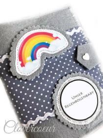 Mutterpasshülle Herz Mutterpass Hülle Mutterkindpass Regenbogenbaby Baby  - Handarbeit kaufen
