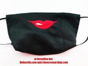Mundbedeckung Gesichtsmaske Maske Behelfsbedeckung Mund Mundmaske Handmade bestickt Mund Zunge Lächeln