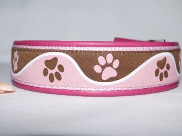 Hundehalsband - Paws -  lederunterfüttert