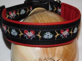 Hundehalsband - 46-56cm - Hirschliebe -  lederunterfüttert
