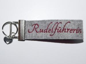 Schlüsselband Filz ♥ Rudelführerin ♥  bestickt rot