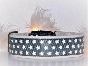 Hundehalsband  ♥ Sternenzauber anthrazit  ♥ 46-58 cm, strapazierfähiges Halsband mit weicher Polsterung aus hochwertigem Lederimitat