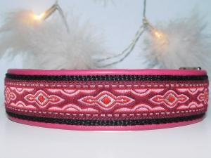 Hundehalsband  ♥ Jaipur  ♥ 35-45cm , lederunterfüttert, Aluschließe, maßgefertigt