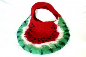 handgefilzte Tasche in Melonenform, Wassermelone