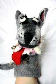 handgefilzte Handpuppe Wolf für Puppentheater, Künstlerpuppe