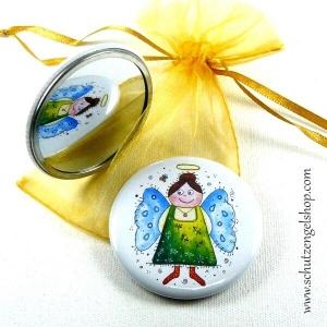 Taschenspiegel ANNA bedruckt mit Aquarell-Motiv im Organzabeutel