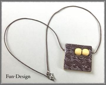 Halsschmuck Modern Art in braun - ein handgeformtes Unikat aus Fimo