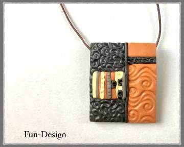 Halsschmuck Modern Art in Brauntönen - ein handgeformtes Unikat aus Fimo