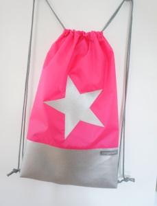 GymBag, Rucksack, It-Bag, Neon Pink mit Stern