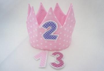 ♡ Geburtstagskrone, Partykrone, Zartrosa, mit Zahlen ♡