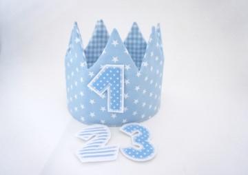 ♡ Geburtstagskrone, Partykrone, Zartblau, mit Zahlen ♡