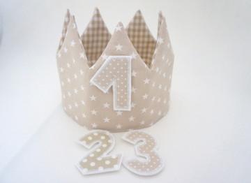 ♡ Geburtstagskrone, Partykrone, Zartbeige, mit Zahlen ♡
