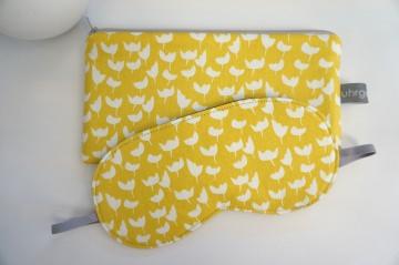 Schlafmaske, Schlafbrille + Etui, Tulpe, Senfgelb Weiß