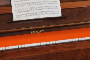 Klavierläufer Tastenläufer Tastaturabdeckung für Klavier Tastendecke 100% reine Schurwolle Orange ohne Bestickung