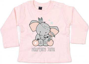 Langarmshirt mit Elefant und Wunschtext
