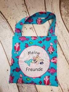 selbst genähte Freundebuchtasche für kleine Meerjungfrauen im Fisch Design