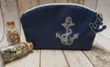 Maritimes Kosmetiktäschen aus blauem Kunstleder und beschichteter Baumwolle mit Anker