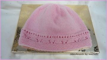 Gestrickte Babymütze für kleine Mädels. Aus Wolle (Merino), rosa - Handarbeit kaufen