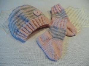 Frühchenset gestrickt, Frühchenmütze, Frühchensocken für Mädchen - Handarbeit kaufen