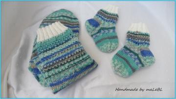 Mama- und Babysocken, bunt, gestrickte Socken für Mutter und Kind. Babysocken,  super als Geschenk zur Geburt Babyparty Taufe 1360