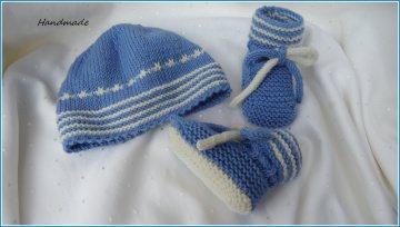 Handgestricktes Neugeborenenset für Jungen aus Wolle (Merino) - Handarbeit kaufen