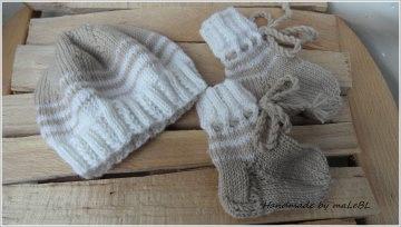 Handgestricktes Frühchen-Set, Mütze und Socken für Frühchen - Handarbeit kaufen