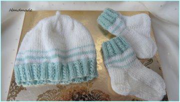 Handgestricktes Frühchenset, Frühchenmütze, Frühchensocken, Wolle - Handarbeit kaufen