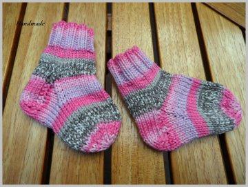 Gestrickte Baby-Strümpfe, Babysocken aus 100 % Baumwolle, Mädchen - Handarbeit kaufen