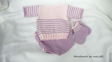 Gestricktes Neugeborenenset, für kleine Mädchen aus Biobaumwolle - Handarbeit kaufen