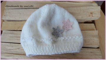 Strickmütze, Babymütze  Gr. 0-3 Mon. weiß, rosa, handgestrickt - Handarbeit kaufen