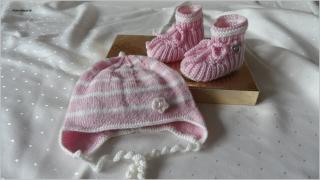 Handgestrickte Babymütze mit passenden Babyschuhen, Gr. 0-3 Mon. rosa weiß,  aus Wolle (Merino). Auch schön als Geschenk zur Geburt oder Taufe - 1185