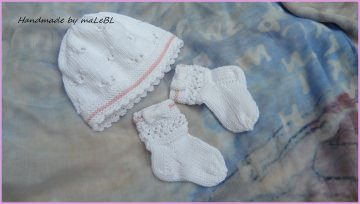 Babyset handgestrickt, Größe 0-3 Mon., auch super als Taufset geeignet aus  100 % Baumwolle gestrickt, Farbe: weiß/rosa   1329