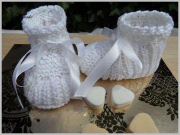 Taufschuhe, Babyschuhe handgestrickt in weiß aus 100 % Baumwolle  - Handarbeit kaufen