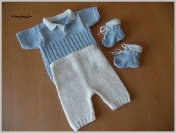 Handgestricktes Neugeborenen-Set für Jungen, 3-teilig, Blau/Weiß - Handarbeit kaufen