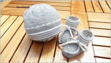 Babymütze, Babyschühchen als Set aus 100 % Wolle (Merino) handgestrickt, Geschenk zur Geburt oder Taufe - 1270