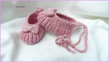 Babyschuhe Ballerina, handgestrickt, Baumwolle, Gr. 2-4 Mon. rosa - Handarbeit kaufen