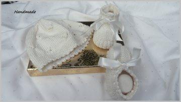 Handgestricktes Babyset, Taufset, handgestrickt, cremé, Baumwolle - Handarbeit kaufen