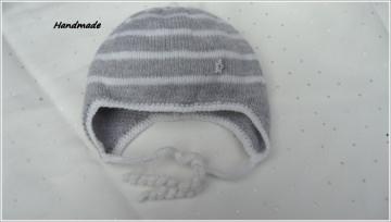 Babymütze handgestrickt, Gr. 0-3 Mon, silbergrau/weiß aus Merino - Handarbeit kaufen