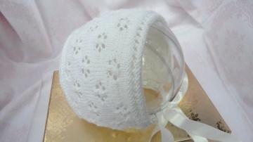 Taufhaube, Taufmütze, handgestrickt, 100 % Wolle (Merino) - Handarbeit kaufen