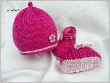 Neugeborenen-Set bestehend aus Babymütze und Babyschuhe pink/rosa - Handarbeit kaufen