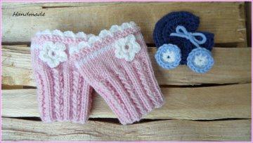 Babypulswärmer, Baby-Armstulpen handgestrickt aus Wolle, rosa