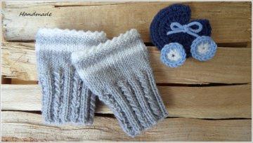 Babypulswärmer  0-3 Mon. silbergrau-weiß, Wolle (Merino)