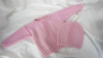Neugeborenenset  aus 100 % Wolle (Merino) in rosa, handgestrickt - Handarbeit kaufen