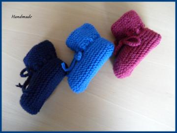 Handgestricke Babyschuhe, Größe: 3-6 Mon., 100 % Wolle (Merino) - Handarbeit kaufen